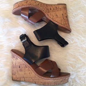 Mossimo Black and Tan Wedge Sandal